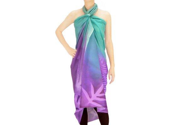 【ボゾ】パレオ 紫・ひすい系 ラウアエ・クプクプ柄 bozo_pareo_0008【メール便可】