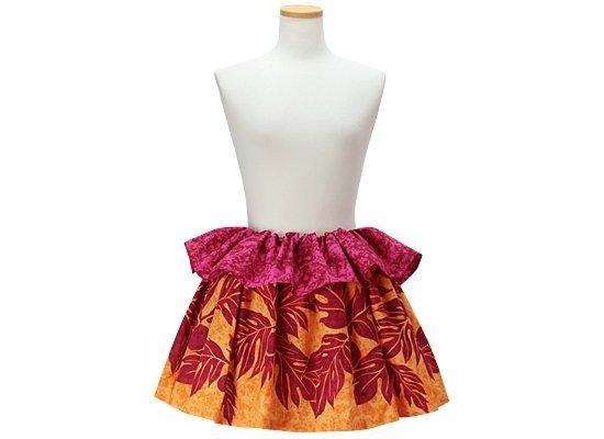 オレンジとピンクのタヒチアンスカート ウル大柄 tahiti-skt-2303ORPi-40cm-2line