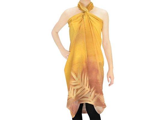 【ボゾ】パレオ 黄色・ブラウン系 ラウアエ・クプクプ柄 bozo_pareo_0028 【メール便可】