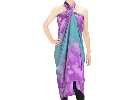 【ボゾ】【パレオ】 紫・ひすい系 リーフ柄 bozo_pareo_0038 【メール便可】