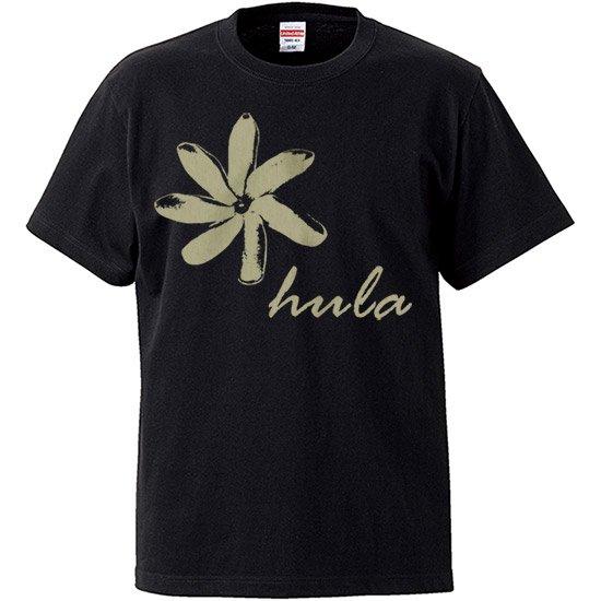 レディースTシャツ−ティアレ hula 黒 【2枚までメール便可】