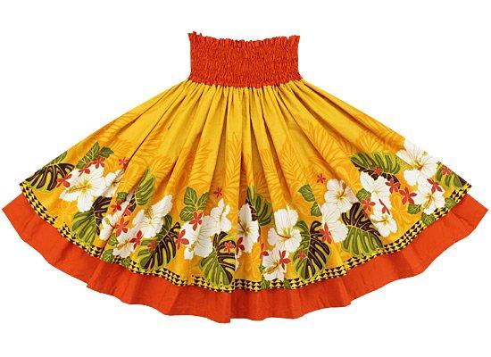 【ダブルパウスカート】黄色のハイビスカス・プルメリア・タパ・ヤシ柄とバーミリオンの無地
