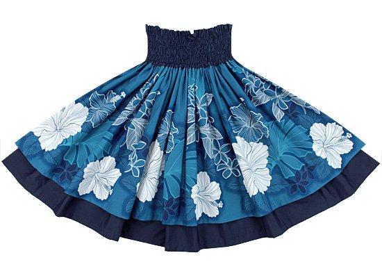 【ダブルパウスカート】青のハイビスカス・プルメリア柄とネイビーの無地