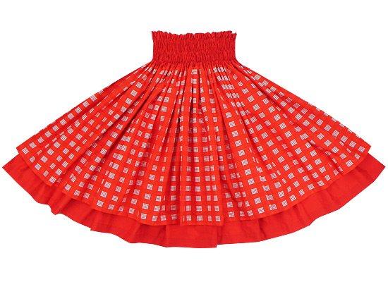 【終売】【ダブルパウスカート】赤のパラカとクリムゾンの無地 2028RD-c249