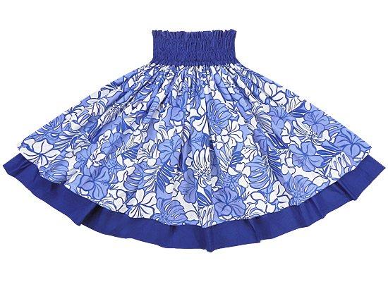 【ダブルパウスカート】青のハイビスカス・モンステラ総柄とロイヤルブルーの無地 2194BL-royalblue-TI