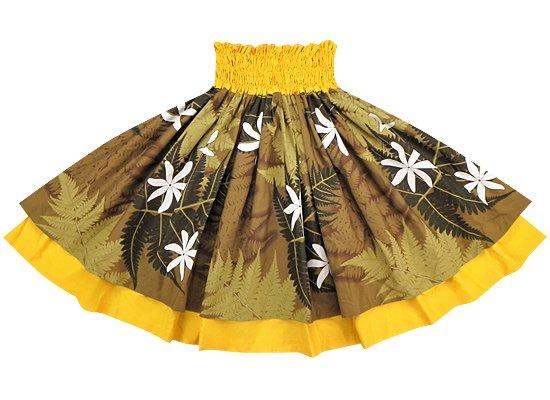 【ダブルパウ】茶色のパラパライ・ティアレ柄とイエローの無地 SoDBL-2212BR-yellow-M24