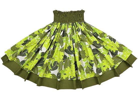 【ダブルパウスカート】緑のプルメリア総柄とオリーブの無地 2218GN-olive-TI