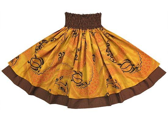 【ダブルパウスカート】オレンジのパウスカート イルカ・ホヌ柄 Double-2204OR-D034