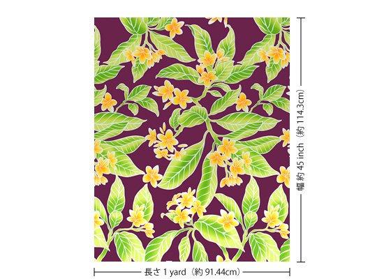 紫のハワイアンファブリック プルメリア総柄 fab-2405PP 【4yまでメール便可】