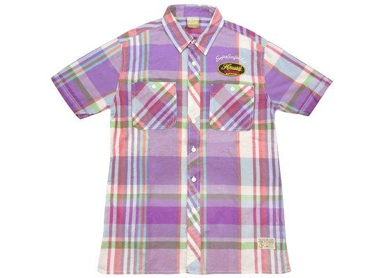 T&C タウカン チェックメンズシャツ Lサイズ パープル