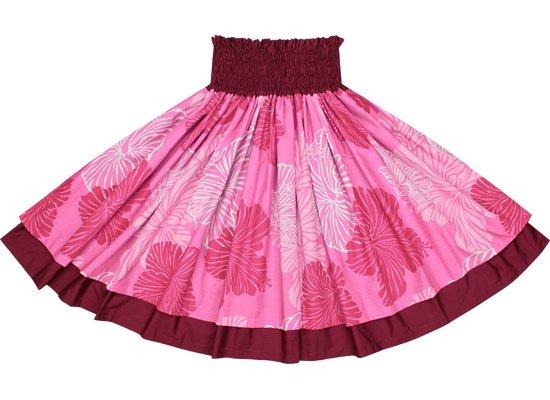 【ダブルパウスカート】ピンクのハイビスカス柄とレッドパープルの無地 2425Pi-redpurple-TI
