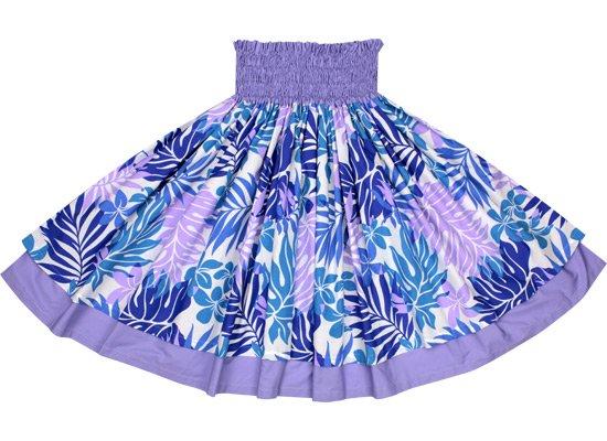 【ダブルパウスカート】紫のラウアエ・プルメリア柄と バイオレットの無地 2423PP-violet-c75
