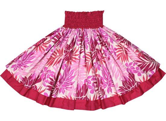 【ダブルパウスカート】ピンクのラウアエ・プルメリア柄とラズベリーの無地 2423Pi-raspberry-TI