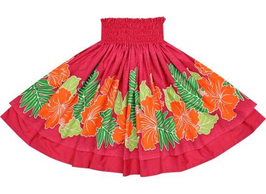 【ダブルパウスカート】ピンクのハイビスカス・グラデーション柄とラズベリーの無地 2434Pi-raspberry