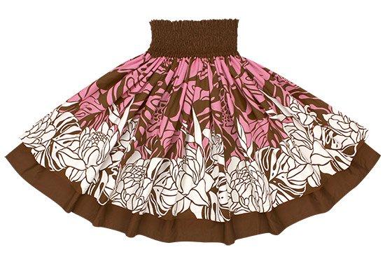 【ダブルパウスカート】ピンクのトーチジンジャー・モンステラ柄とチョコレートの無地 2439BRPi-chocolate