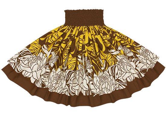 【ダブルパウスカート】黄色のトーチジンジャー・モンステラ柄とチョコレートの無地 2439YW-chocolate