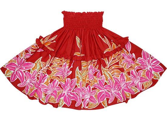 【ティアードパウスカート】 赤のパウスカート リリー柄 tipau-2424RD 75cm 4本ゴム【既製品】