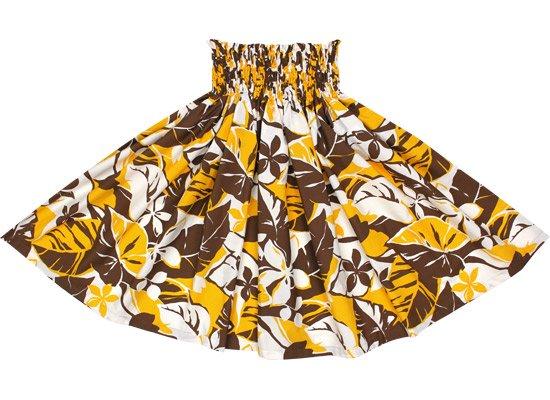 クリーム色のパウスカート 黄色のプルメリア・バナナリーフ柄 2488CRYW 75cm 4本ゴム【既製品】【NPS】【既製品】