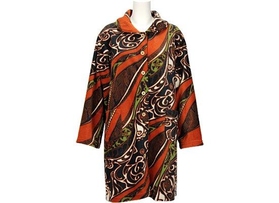 【半額セール】ハワイアン フリース ルームウェア ホヌ・タパ柄 茶色 f-rw24450BR