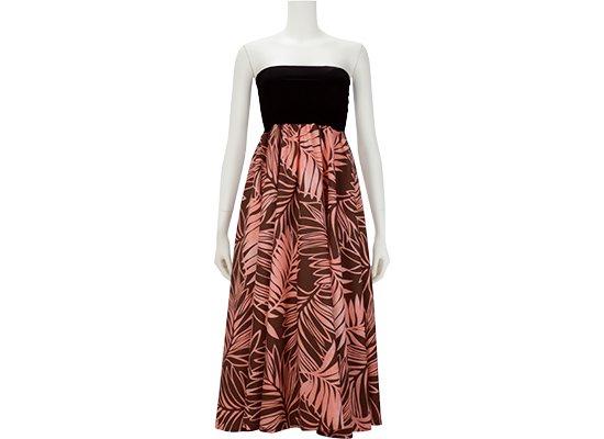 2wayチューブトップドレス ワンピース ヤシ柄 51009-2491BR