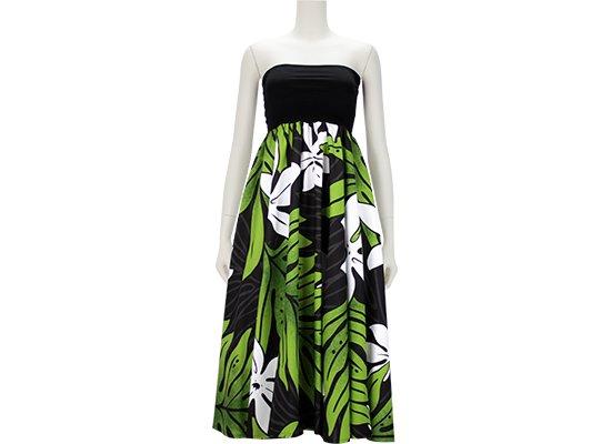 2wayチューブトップドレス ワンピース ティアレ・ラウアエ大柄 51009-2508BK