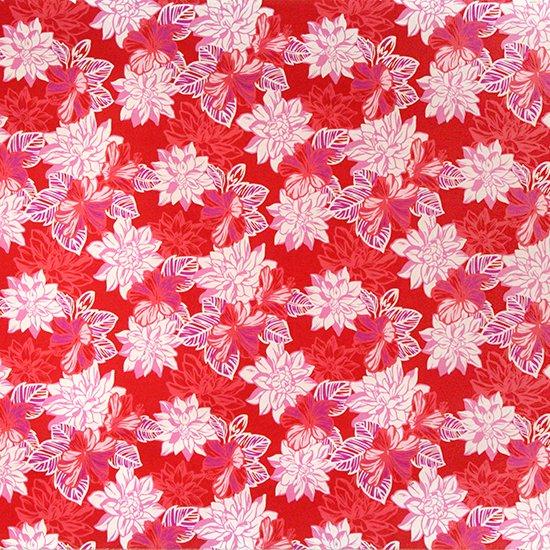 赤のハワイアンファブリック ガーデニア・ハイビスカス柄 fab-2515RD 【4yまでメール便可】【NPS】