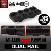 【LayLax/ライラクス】デュアルレイル[XS]エクストラショート45mm(Keymod/M-lok対応ピカティニーレイル)