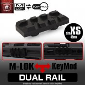 【LayLax】デュアルレイル[XS]エクストラショート45mm(Keymod/M-lok対応ピカティニーレイル)