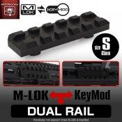【LayLax】デュアルレイル[S]ショート65mm(Keymod/M-lok対応ピカティニーレイル)