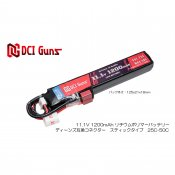 【DCI Guns】11.1V 1,200mAh Lipoバッテリー ディーンズ互換コネクター(T型) 25C-50C