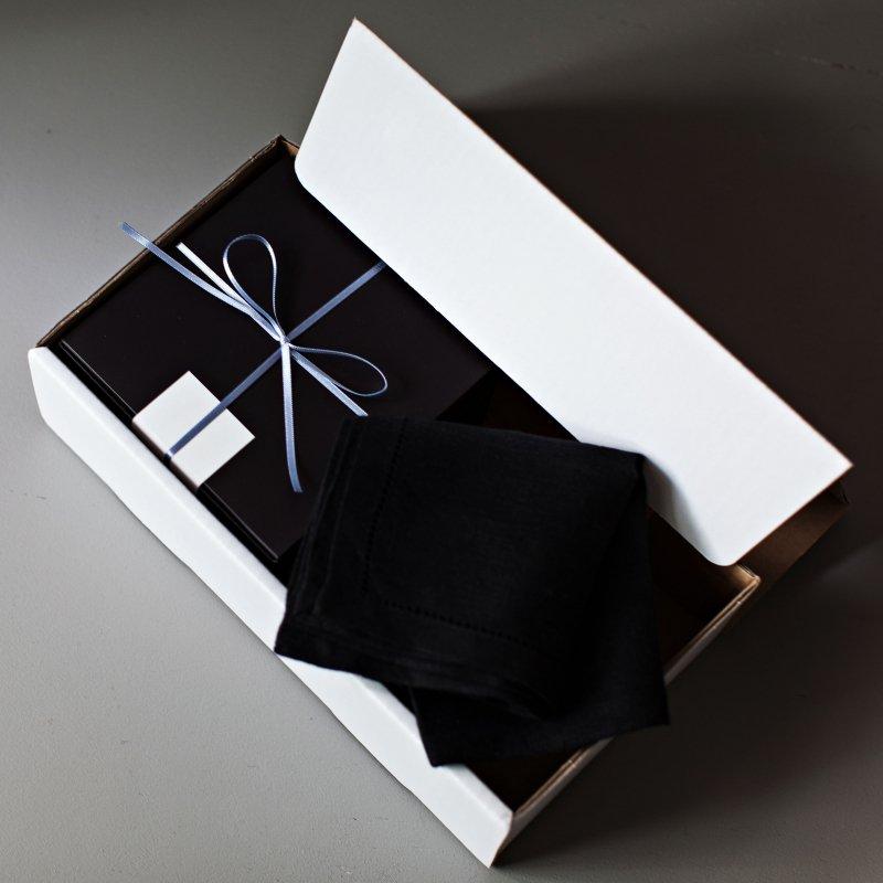 2020父の日の贈り物 yucca x リネンハンカチ/ブラック