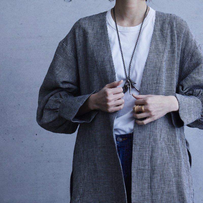Mila Linen Coat - 千鳥格子