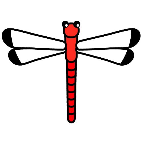 とんぼ-赤/布用シール