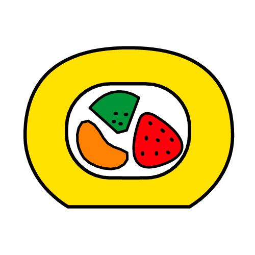 ロールケーキ/耐水シールセット(S・M・L・円)