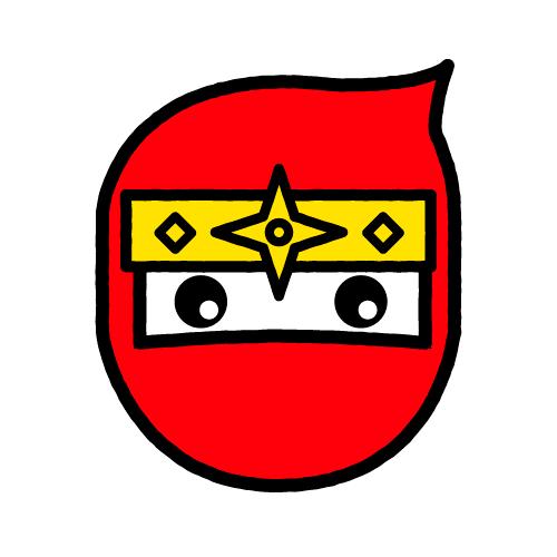 ニンジャ-赤/耐水シールセット(S・M・L・円)