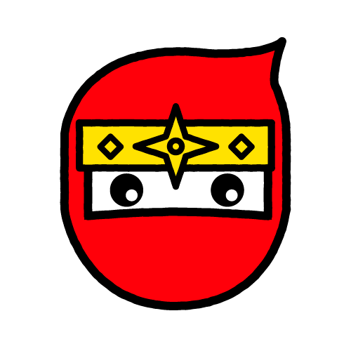 ニンジャ-赤/布用シールセット(S・M・L・LL・円)