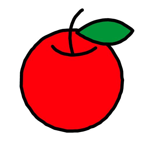 りんご/耐水シール/名前なし