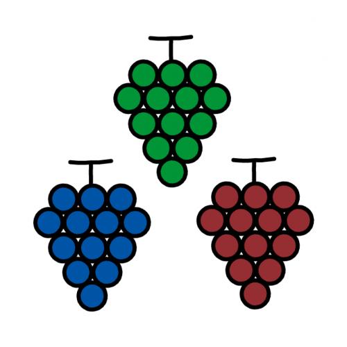 ぶどう-カラフル/耐水シールセット(S・M・L・円)