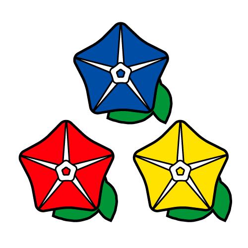 あさがお-カラフル/耐水シールセット(S・M・L・円)