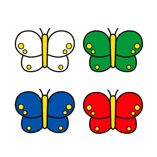 ちょうちょ-カラフル/布用シールセット(S・M・L・LL・円)