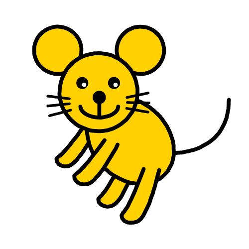 マウスちゃん(ねずみ)/保護フィルム付き防水シール