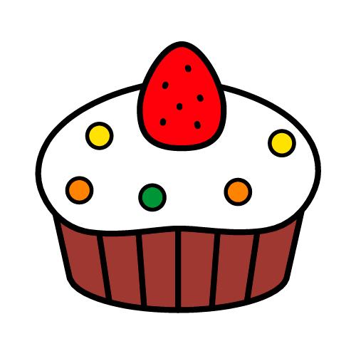 カップケーキ/保護フィルム付き防水シール