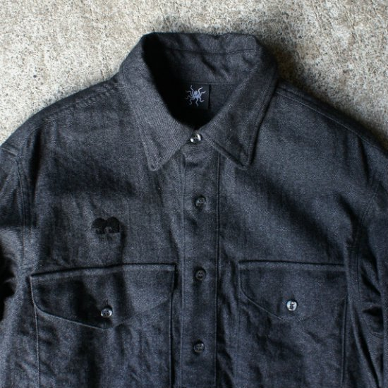 3POCKET WOOLワークシャツ  Dk GY【送料無料!】