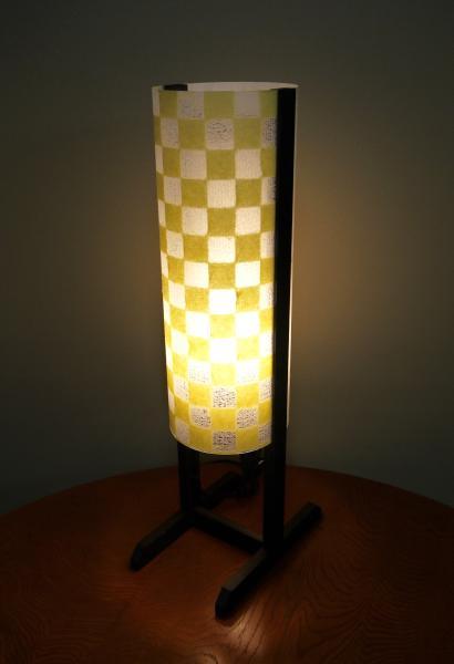MAS-202 丸行灯スタンド Lサイズ 手漉き和紙 楮 市松模様 ■... 丸行灯スタンド