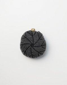 ネットバッグシルクレースビーズ編み ブラック