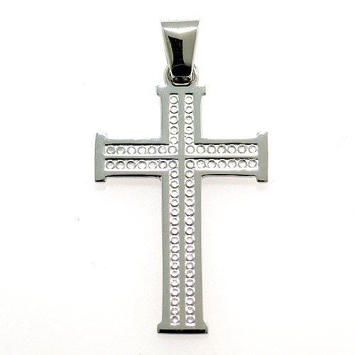 十字架ペンダント(飾り模様)30ミリ ホワイトゴールド