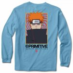 PRIMITIVE x NARUTO ナルト ロングTシャツ KNOW PAIN BLUE SIZE:S