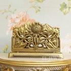 <b></b>イタリア製 真鍮カード立て サンフラワー アンティークゴールド(W135×D55×H90mm)