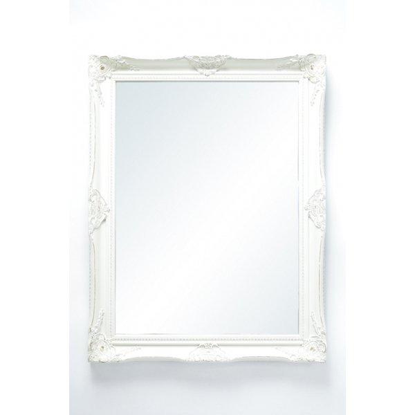 アンティーク調壁掛けミラー アンティークホワイト Mサイズ
