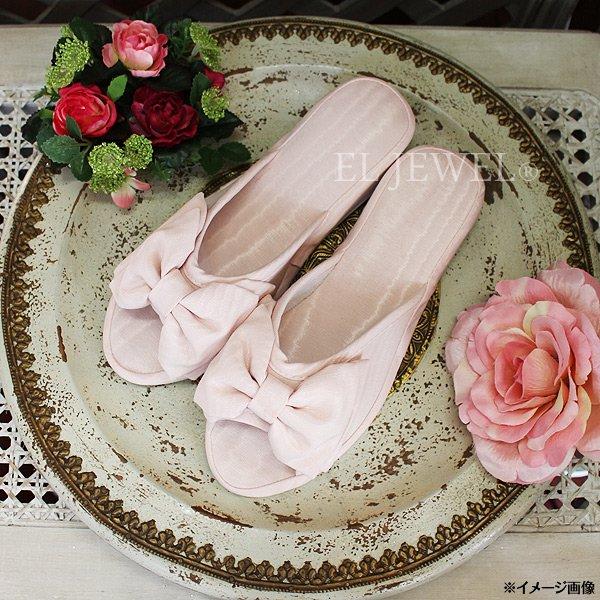 【即納可!】エレガントで可愛い♪モアレリボンスリッパ Lサイズ ピンク(W25×D9×H8cm)